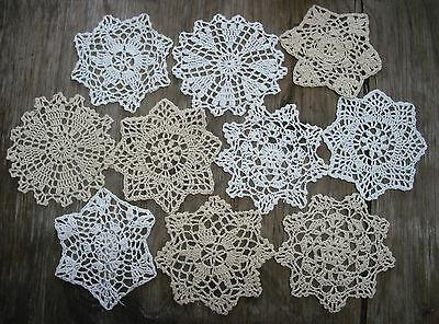 "10psc  Hand Crochet Doilies 5"" White & Natural Vintage Wedding Tea Party NEW"