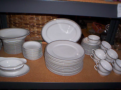 53 THUN BOHEMIA CZECHOSLAVAKIA CHINA GREEK KEY DISHES PLATES CUPS SAUCERS BOWLS on Rummage