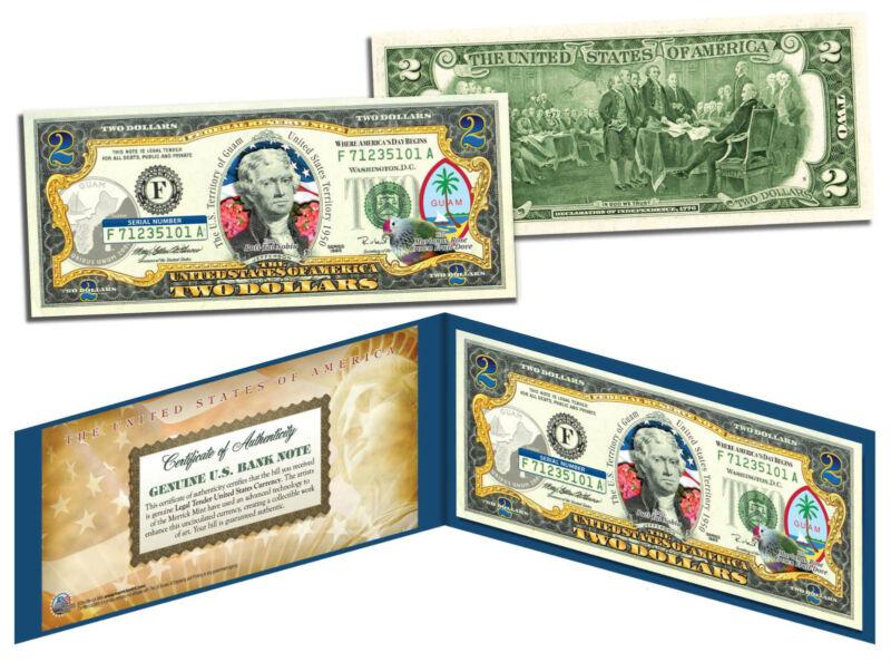 GUAM Statehood $2 Two-Dollar Colorized U.S. Bill - Genuine Legal Tender Currency