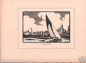 Bassin d'Arcachon Landes de Gascogne Gironde France Druet GRAVURE ANTIQUE PRINT - France - Type: Gravure Authenticité: Original Période: XIXme et avant - France