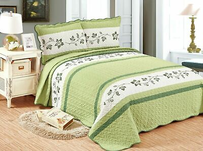 Quilted Embroidery (3Pcs Embroidery Quilts Bedspreads Set Bedding Coverlet Set  Taacna )