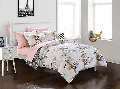 Yellow Comforter - 💗 ALL SIZES Paris Bedding Comforter Set Eiffel Tower Yellow Black Pink Bedroom