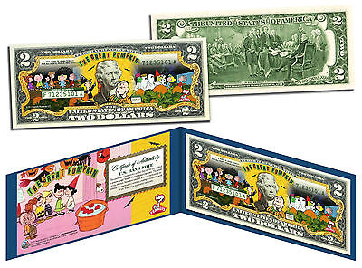 PEANUTS HALLOWEEN Charlie Brown THE GREAT PUMPKIN Colorized US $2 Bill -LICENSED - Charlie Halloween