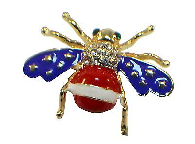 Bumble Bee Patriotic Flag Red White And Blue Rhinestone Pin Brooch Broach