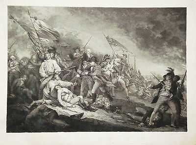 Battle at Bunkers Hill Boston USA 1775 Schlacht Kupferstich von Keßler 1805