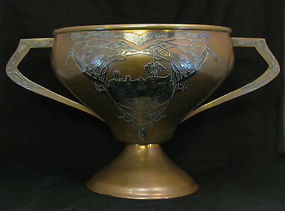Antique Heintz Art Metal Large Trophy Cup 1914 Michigan Sterling Silver Bronze