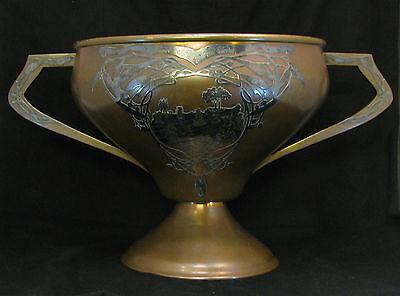 Antique Heintz Art Metal Large Trophy Cup 1914 Michigan Sterling Silver Bronze