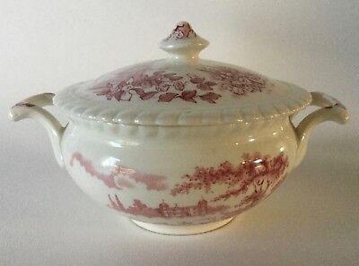 Johnson Bros CASTLE on the LAKE Pink Red Sugar Bowl w/Lid Vintage England ()