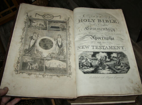 """1813 HUGE  antique Holy Bible **17 1/2"""" tall **  ILLUSTRATED  15lbs."""