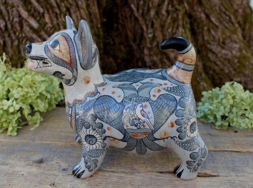 Colima Dog Handmade & Hand Painted 2 Headed Eagle Tonala Pottery Mexico Folk Art