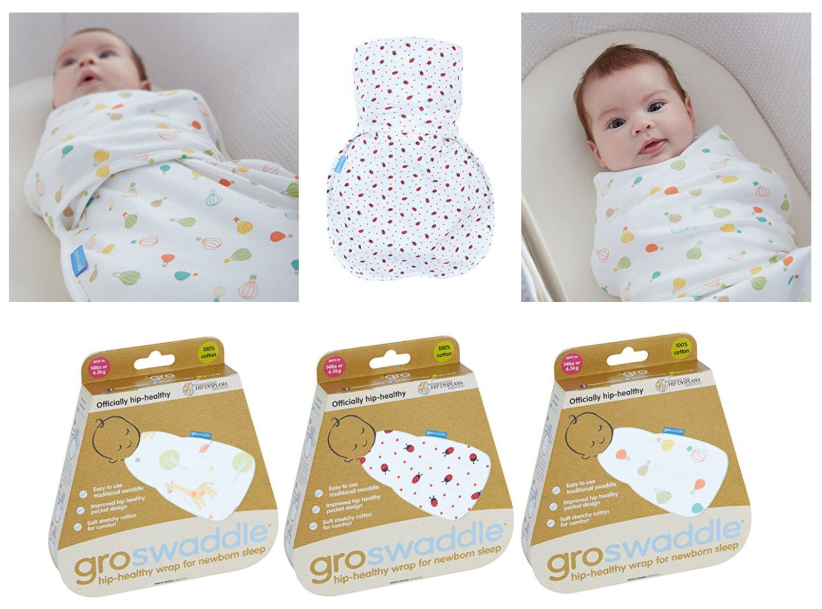 Gro Swaddle Baby Wrap Gro Blanket for Newborns to 14lbs//6.5kg 100/% Cotton