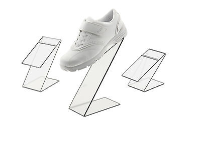 Black Slant Back Acrylic Shoe Risers Display Stand Set Of 3 With Heel Stop
