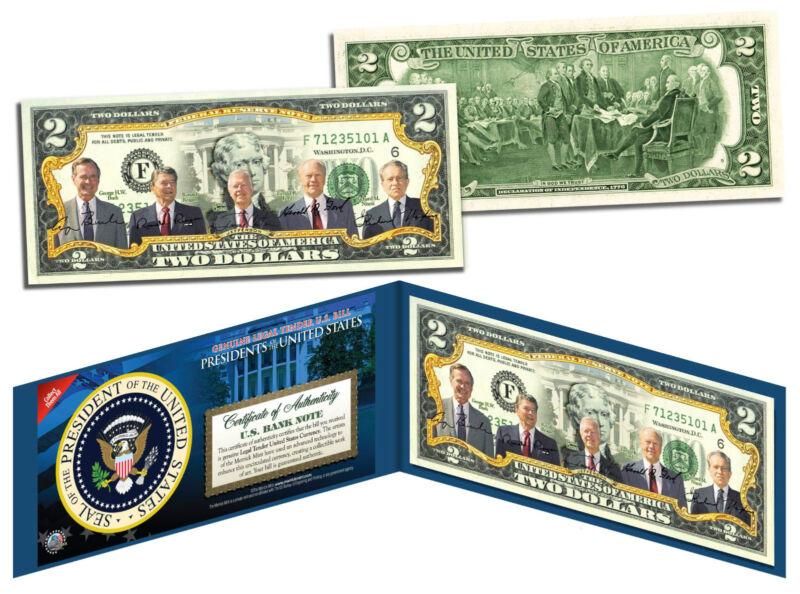 US PRESIDENTS 1969-1993 Genuine $2 Bill NIXON FORD CARTER REAGAN BUSH