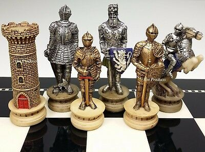 MEDIEVAL TIMES CRUSADES Gold & Silver Armored Knight Chess Men Set - NO BOARD (Knight Chess Set)
