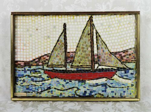Vintage Mid Century Modern Art Tile Art Wall Hanging Sailboat Seascape Signed