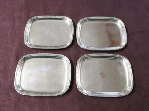 Antique Silverplate 4 Nut or Mint Dishes Rampant Lion & Crown