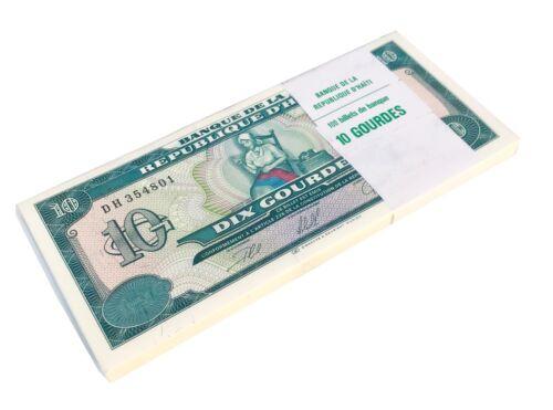 HAITI 10 GOURDES 1999 P 256 UNC BUNDLE OF (100 NOTES) 100 PCS