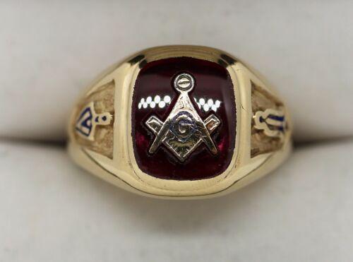 Vintage Estate 10K Yellow Gold Ruby Masonic Ring Sz 12.75 (7.24g)