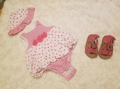 Baby Girl 9 Months Carters Baby Pink Stripe Dress with hat and sandals