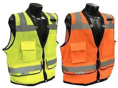 Radians Sv59 Class 2 Heavy Duty Surveyor Safety Vest Mesh Solid Orangegreen