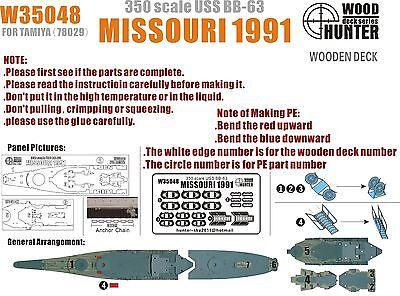 Hunter 1/350 W35048 Wood deck Missouri BB-63 1991 for Tamiya 78029