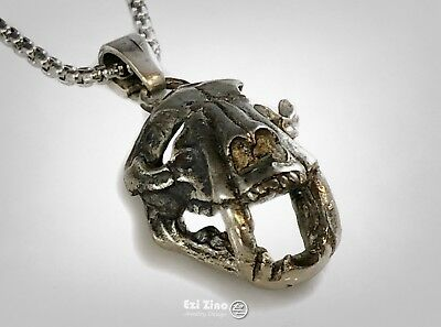 Sabertooth Skull Wolf Solid Sterling Silver 925 Handmade Pendant by Ezi Zino for sale  Shipping to United States
