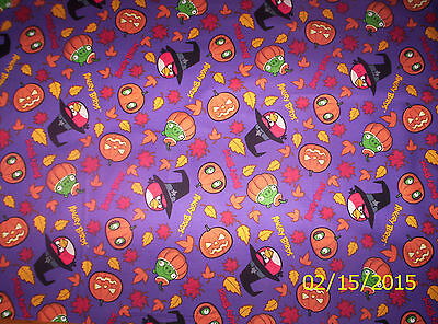 n Spooky Birds on Purple 100% Cotton Fabric by the 1/2 Yard (Angry Birds Halloween 2)