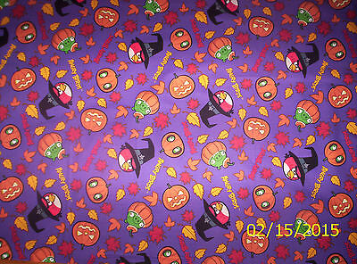 New Angry Birds Halloween Spooky Birds on Purple 100% Cotton Fabric by the Yard