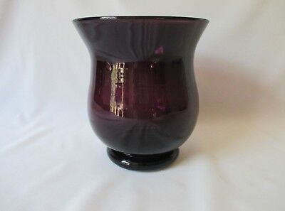"""Deep Purple Hand Blown Footed Amethyst Glass Vase ~ Unique Shape ~ 6 1/4"""" Tall"""