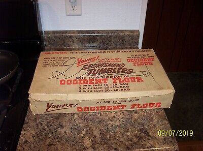 12 - VINTAGE OCCIDENT FLOUR SPORTSMEN's WATER TUMBLERS / GLASSES w/ DISPLAY BOX