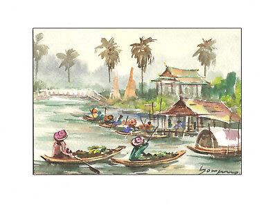 Handmade watercolor paiting - asian bridge boats landscape for relaxing mood