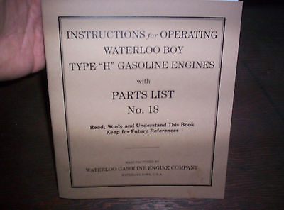 Waterloo Boy H Hit Miss Gas Engine Manual Instruction Operating Parts List 18