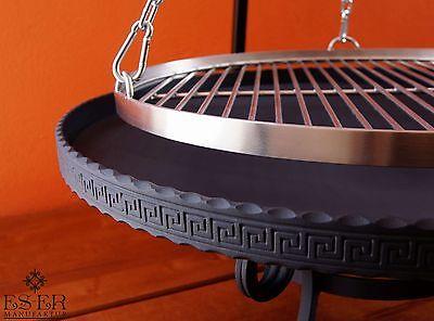 Grillset - Schwenkgrill 50 cm rostfrei mit Feuerschale 60 cm mit Umrandung