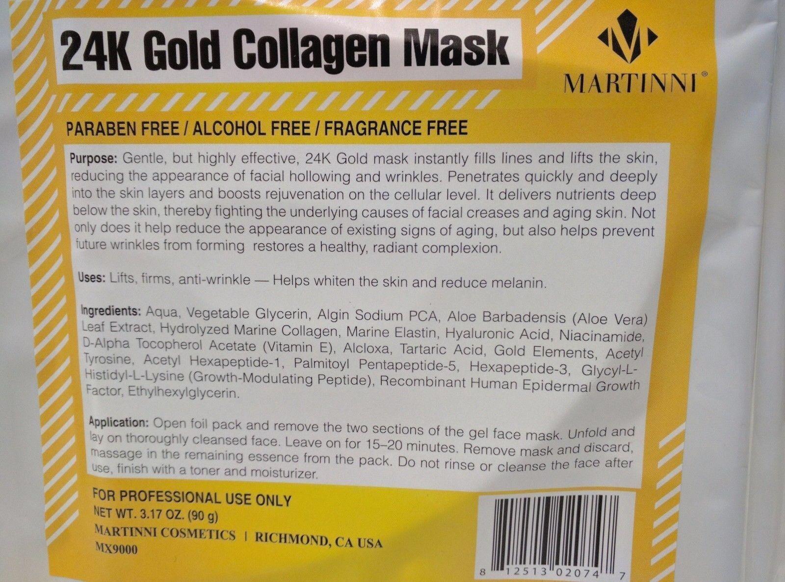 Martinni 24K Gold Collagen Sheet Mask -- Professional Grade