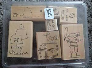 Stampin Up 'Ahoy, Matey' set (7 pirate themed wooden stamps) Narangba Caboolture Area Preview