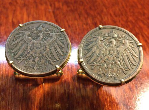 Antique 1900s Imperial German Eagle 2 Pfennig Germany Empire Coin Cufflinks +Box