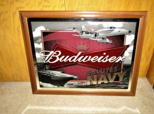 2006 BUDWEISER salutes the NAVY wood framed mirror