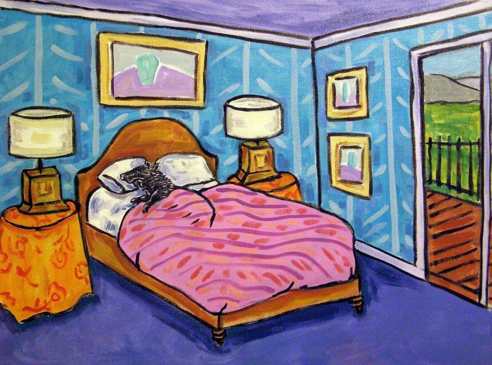 WHITE CAT art bedroom 4x6   poster gift modern folk  modern folk GLOSSY PRINT