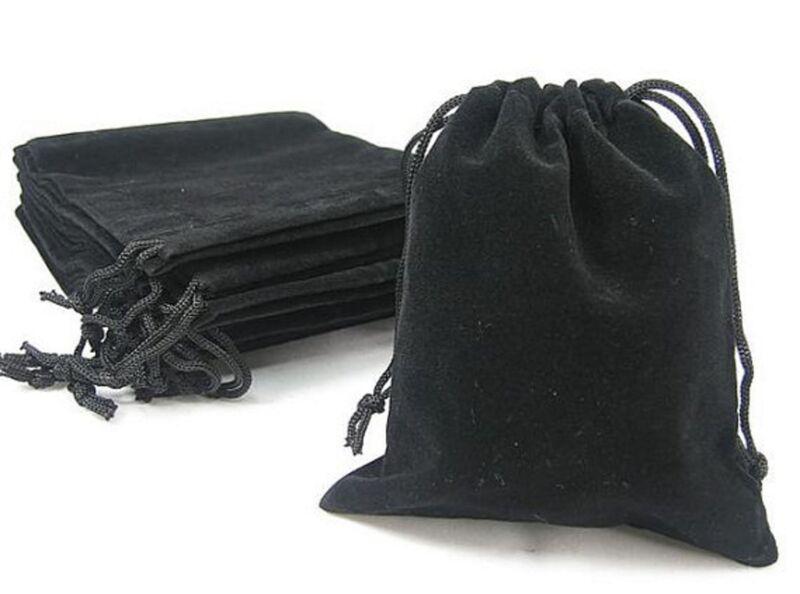 10 x New Black Velvet Drawstring Jewellery Packaging Bags Gift Pouches 7 x 9 cm