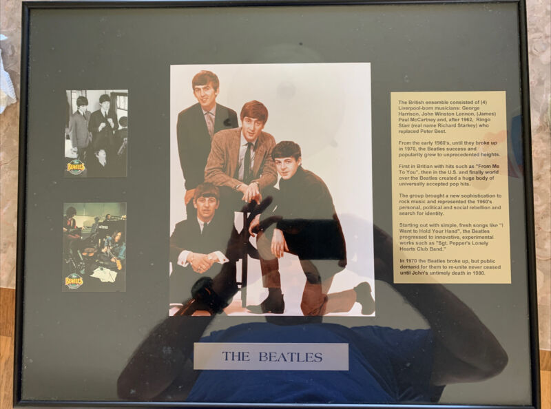 The Beatles Framed Picture, Collection Card and History 16x20 Cool Piece