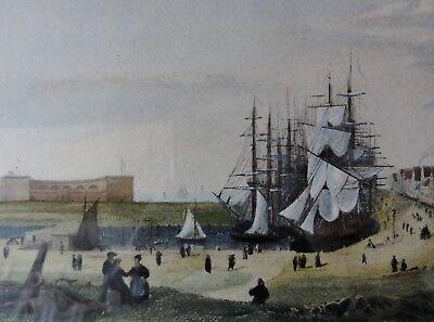 BREMERHAVEN: Ansicht der Hafenanlagen - gestochen von Payne nach Gemälde Sander