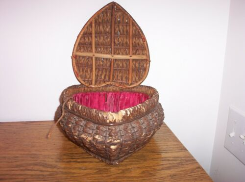 Antique Vintage Heart Shaped Wicker Sewing Basket German ?