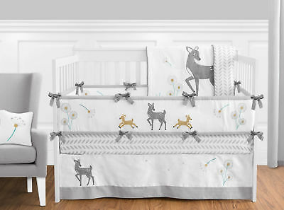 Sweet Jojo Grey White Dandelion Deer Forest Fawn Baby Boy Girl Bedding Crib (Baby Boy Girl Bedding)