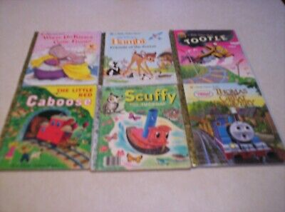 LOT (6) GOLDEN BOOKS BAMBI THOMAS THE TRAIN TOOTLE LITTLE RED CABOOSE & MORE