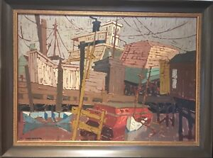 SEAGER KENETH ( 1927 ) MODERN ART PAINTING DATED 1964  $300.00
