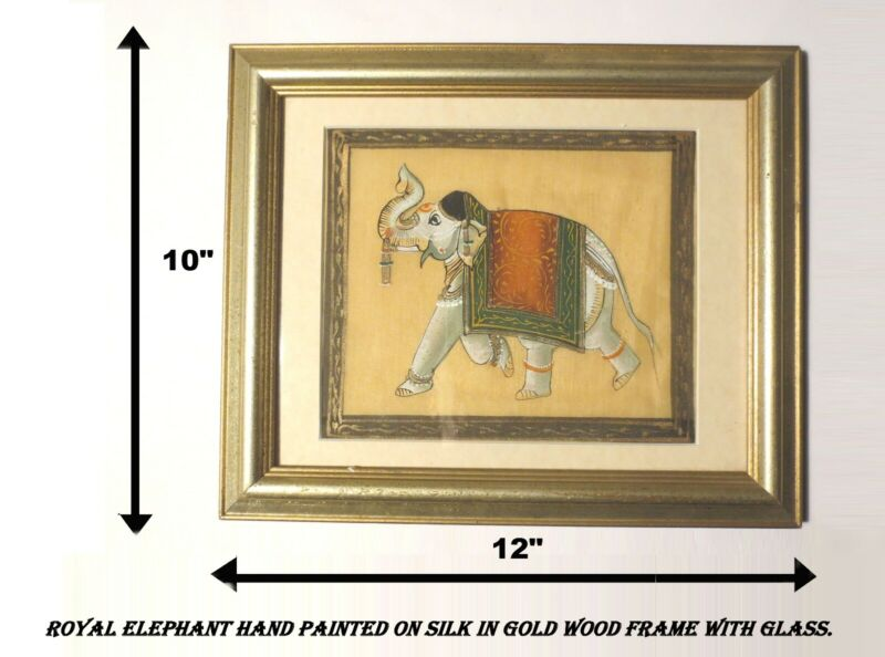 """BEST PRICE! """"ROYAL ELEPHANT!"""" HAND PAINTED SILK! GOLD WOOD FRAME w GLASS 12""""x10"""""""