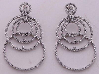 Large big multi hoop fine earrings sterling silver & CZ cubic zirconia cluster
