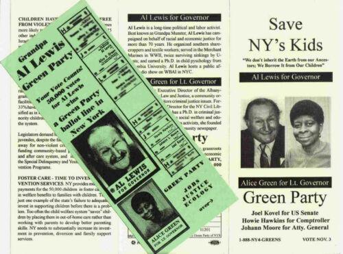 Grandpa Munster Al Lewis for New York Governor (1998) Three Original Brochures