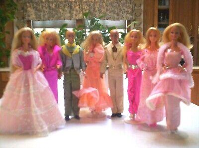 LOT OF (8) BARBIES KEN DOLLS MOD ERA 70's-80's DRESSED ORIGINAL OUTFITS & SHOES