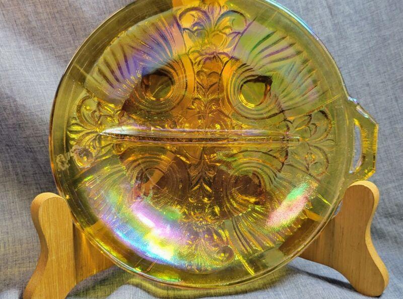 Vintage Marigold Carnival bowl  Glass~Divided Relish Dish Indiana Glass